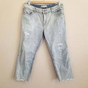 Free People Light Wash Cropped Jeans 30